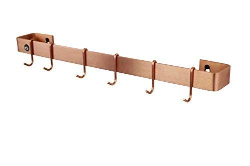 "Enclume WR3 SCP Wall Rack Utensil Bar with 6 Hooks, 36"", Brushed Copper"