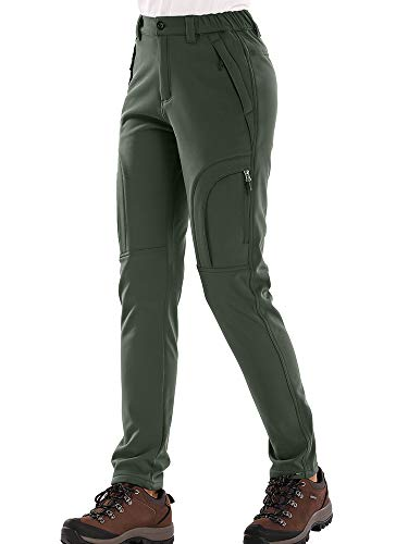 Hiking Pants Women ski Waterproof Snow Winter Fleece Travel Warm Outdoor Insulated rain Golf Pants (309 Army, 32)