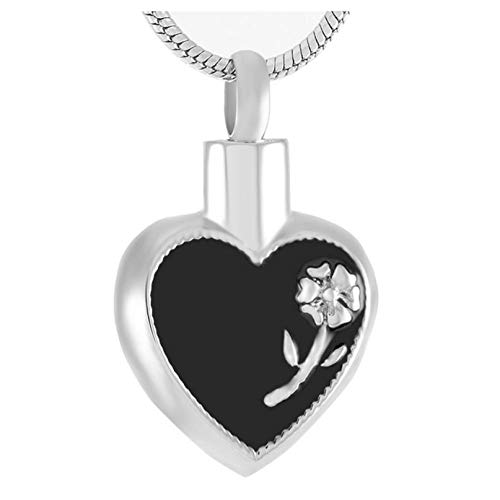 Wxcvz Colgante para Conmemorar Flor Color De Rosa En El Corazón Cenizas Urnas De Recuerdo Joyería De Cremación Urna Collar para Cenizas