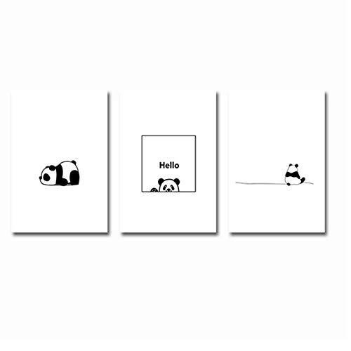 FRTTCYO Poster Cartoon Panda Leinwand Poster und Druck Minimalist Modern Painting Kinderzimmer Wandkunst Bilder für Kinder Baby Girl Raumdekoration -50x70cmx3 Kein Rahmen