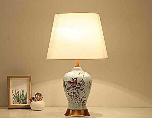 Fashion Individuality Creative Modern Chinese Style Table Lamp Ceramics Light Body Cloth Lampshade Bedroom Living Room Table Lamp Desk lamp