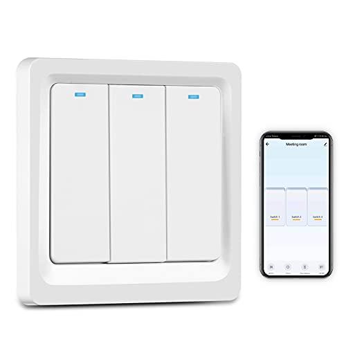 Interruptor de luz de Alexa, control de aplicación de voz Interruptor de luz de pared WiFi inteligente con 2 instalaciones, función de sincronización Interruptor inteligente compatible con Alexa