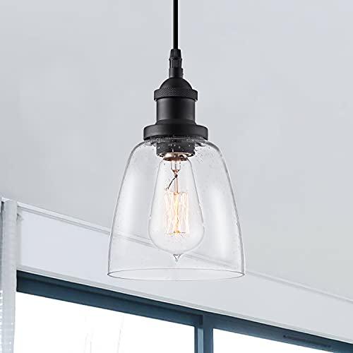 "IMPIOIO Modern Pendant Light with Seed Glass 4"" Mini..."