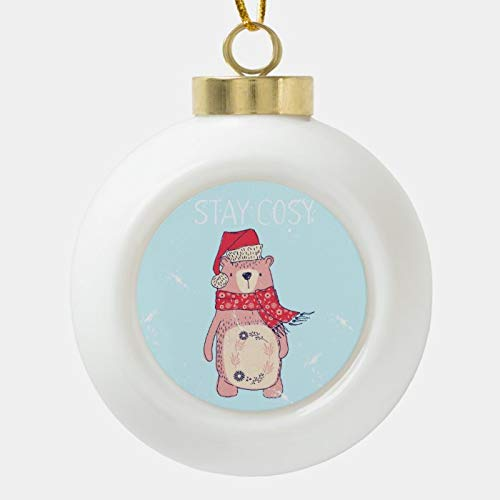 Dom576son Christmas Ball Ornaments, Little Brown Bear With Hat - Stay Wild Ceramic Ball Christmas Ornament, Shatterproof Christmas Decorations Tree Balls for Holiday Wedding Party Decoration