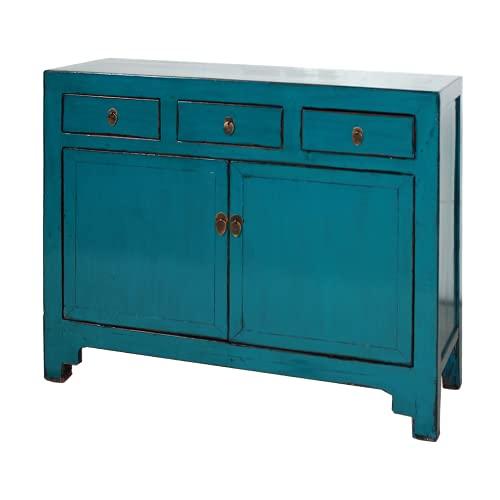 Fine Asianliving Aparador chino antiguo azul brillante W154xD40xH92cm aparador cómoda de cajones inspirado en Ming muebles chinos orientales de madera pintada a mano asiática 154x92x40cm