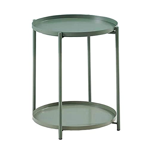 LeChamp Modern Metal Double Layers End Table Round Removable Tray for Outdoor & Indoor Detachable Waterproof Tray Small Sofa Side Table for Living Room, Hallway, Bedroom, Garden, Balcony Green