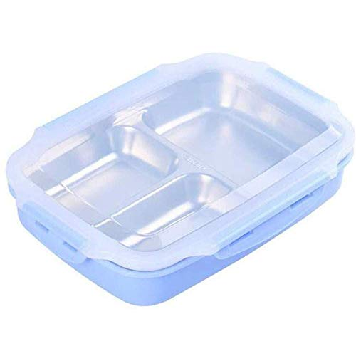Lunch Box 3 Grid Magnetron Vriezer Vaatwasser Volwassenen Work es For Kids Lunch Box For Girls Voedsel Containers (Kleur: Groen) Geïsoleerde draagbare lunchbox. (Color : Blue)