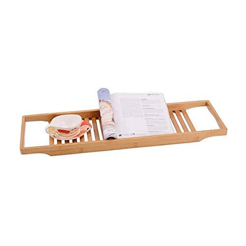 Sdesign Baño Bandeja ajustable estante del baño ajusta a la mayoría de bañera, baño de bambú Caddy con jabón gratuito Holder, Bandeja de bañera respetuoso del medio ambiente, Mesa de baño for la table