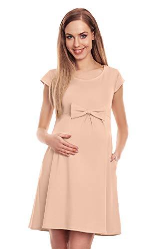 Selente Mummy Love 0129 modisches Umstandskleid (Made in EU) Schwangerschaftskleid Umstands-Freizeitkleid, Mit Schleife Beige, Gr. L/XL