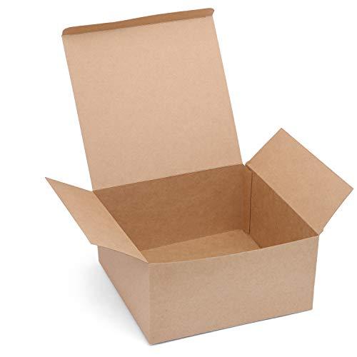 Belle Vous Kraft Geschenkboxen (12 Stück) - (20,3x20,3x10,1cm) Kraft Braune Geschenkbox mit Deckel - Geeignet für Geburtstag Party, Brautparty, Hochzeit, Kekse, Schokolade, Gebäck, Basteln, Schmuck