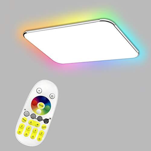 Aufun 48W LED Deckenleuchte RGB, Deckenlampe für Flur, Küche, Wohnzimmer, Büro, Modern Farbwechsel Lampe Schutzart IP44, Energie Sparen, 650X430 mm, Dimmbar (2800-6500K) inkl. Fernbedienung