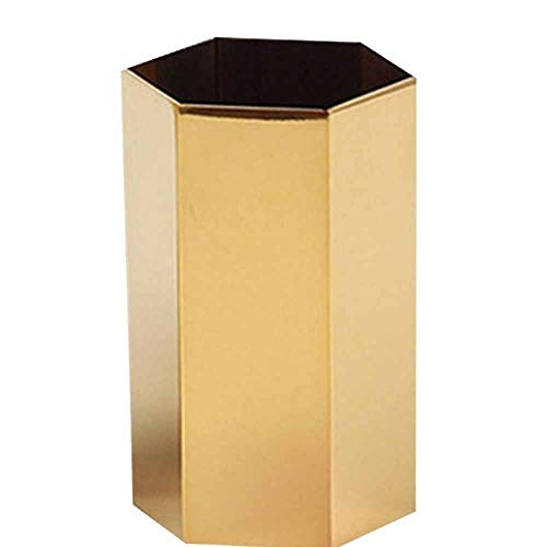Pencil Cup Holder Desk Organizer,Gold Pen Pot Pen Holder Container Desktop Stationery Organizer Vintage Geometric Table Vases Flower Pot Makeup Brush Holder for Office Home Decor