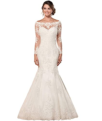 SYYS Sexy Long Sleeves Lace Mermaid Bridal Gown Illusion Backless Princess 2021 Wedding Dress White 10