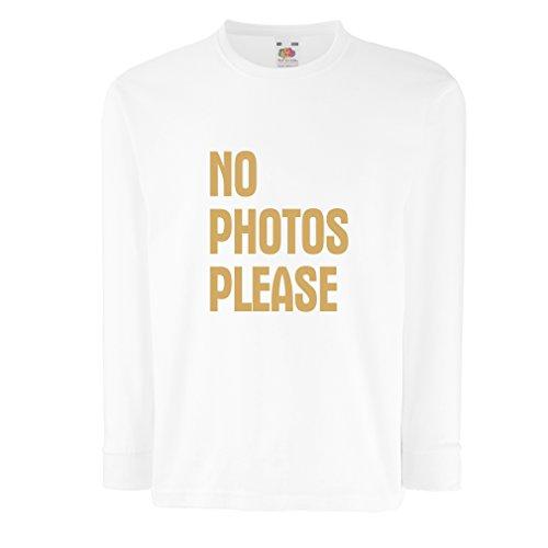 N4537D Kinder-T-Shirt mit Langen Ärmeln No Photos Please (14-15 Years Weiß Gold)