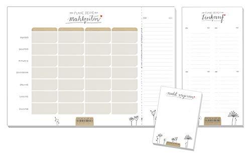 3 Organizer Blöcke im Set - Recyclingpapier Essensplaner, Einkaufsliste & Nicht vergessen Notizblock, Design Abreißblöcke, klimaneutral produziert
