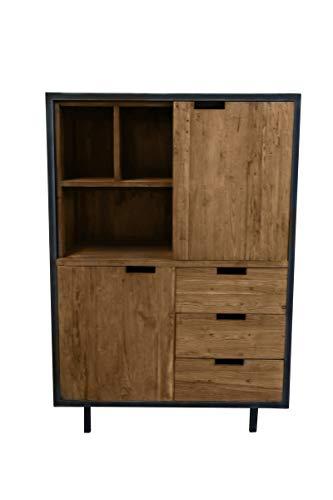 Sit Möbel Toba Highboard Teak mit Metall B 100 x T 50 x H 142 cm natur mit schwarz 2 Türen, 3 Schubladen, 3 offene Fächer