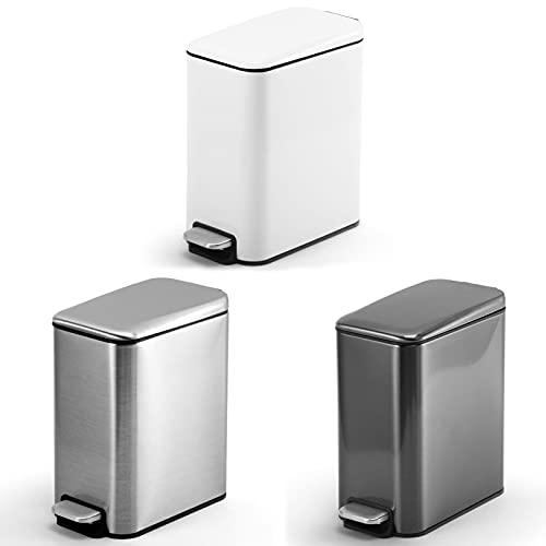 SIPERLARI Cubo de basura rectangular con pedal de acero inoxidable 5L,cubo de basura para dormitorio,silenciador de la basura para el hogar pequeño cubo de basura para baño oficina,cocina (plata)