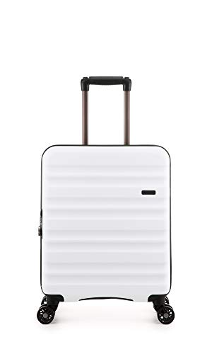 Antler Clifton White Cabin Suitcase | Lightweight Hand Luggage | 4 Wheels | 55x40x20 | Cabin Luggage with Spinner Wheels for Ryanair | EasyJet | Jet 2