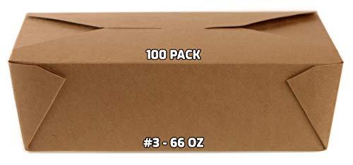 [100 PACK] Take Out Food Containers 66 oz Kraft Brown Paper Take Out Boxes Microwaveable Leak and Grease Resistant Food Containers - To Go Containers for Restaurant, Catering, Food Truck - Recyclable Lunch Box #3 by EcoQuality