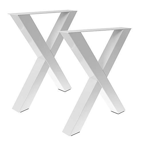 Bentatec 2 x Tischgestell in X Form weiß Pulverbeschichtet