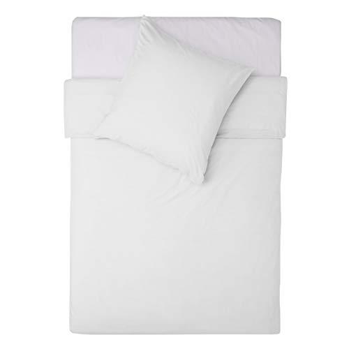 Lumaland Premium Bettwäsche Everyday Ganzjahres Bettbezug mit YKK Reißverschluss 155 x 220 cm & Kissenbezug 80x80cm Weiß