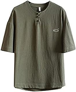 Wanxiaoyyyinnsdx Mens Henley Short Sleeve, Men Casual Fashion Printing O-Neck Cotton Linen Short Sleeve T-shirt Tops Slim ...