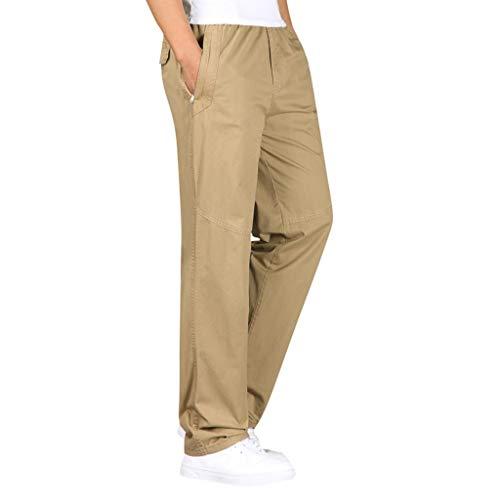 Xmiral Pantaloni da Spiaggia Larghi da Uomo Pantaloni Traspiranti Morbidi-Pantaloni di Lino in Cotone con Coulisse Lunghi (L,Cachi)