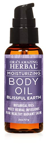 Ora's Amazing Herbal, Travel Size Body Oil, Body Oil With Pump, Blissful Earth Essential Oil Scent, Lavender Vetiver and Clary Sage, Skin Care Oil, 2oz