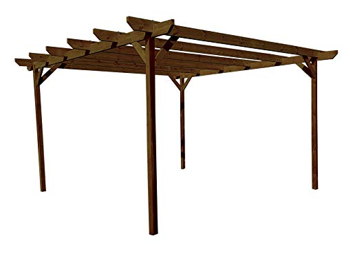 Chamfered Wooden Garden Pergola Kit - Exclusive Pergola Range - Largest on Amazon (3m x 4.8m 4 posts, Rustic Brown)