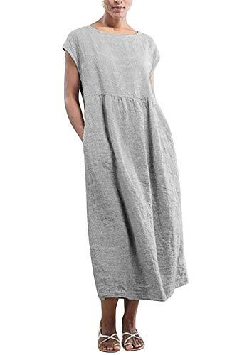 Yidarton Kleider Damen Lang Sommer Elegant Strandkleid Kurzarm Rundhalsausschnitt Casual Lose Maxi Kleider mit Taschen (Grau, XXL)