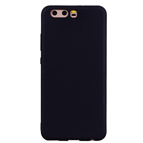 cuzz Funda para Huawei P10+{Protector de Pantalla de Vidrio Templado} Carcasa Silicona Suave Gel Rasguño y Resistente Teléfono Móvil Cover-Negro