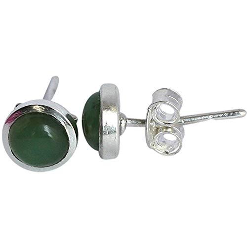 Ohrstecker aus echtem Chrysoprase-Edelstein, 7 mm, Silber-Ohrringe, für Mädchen, Schmuck 259