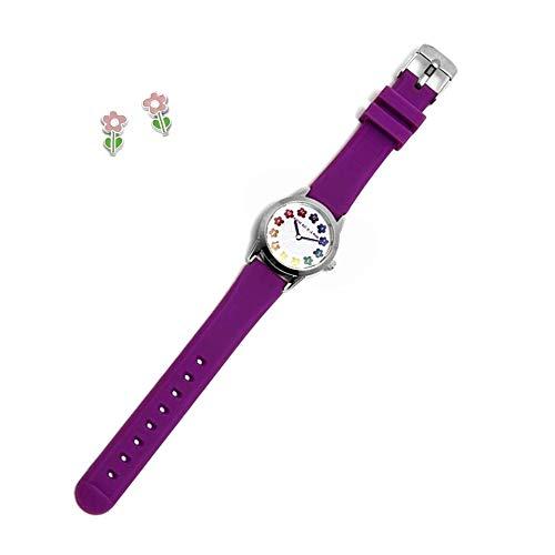 Juego Agatha Ruiz De La Prada Reloj Agr257 Morado Niña Pendientes Plata Ley 925M Flor Tallo - Modelo: Agr257