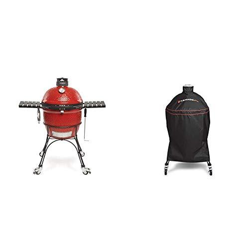 Kamado Joe KJ23RHC Classic II Charcoal Grill, 18 inch, Blaze Red & KJ-GC23BWFS Classic Joe Charcoal Grill Cover, Black