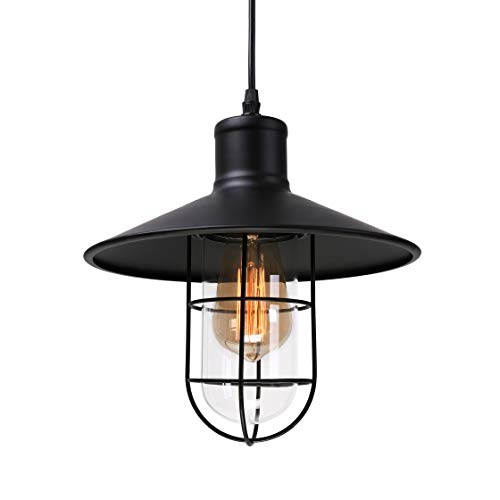 Pendant lights, BAYCHEER HL371419 Industrial Vintage Style Glass House cage hanging lamp Ceiling Lighting use 1 E26 Bulb. Black