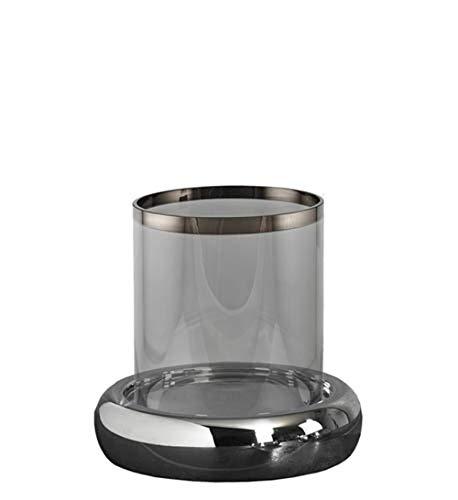 Kaheku Windlicht Nele XXL Silber, Ø 27 cm, H= 22 cm Edelstahl Farbglas veredelt 99990431