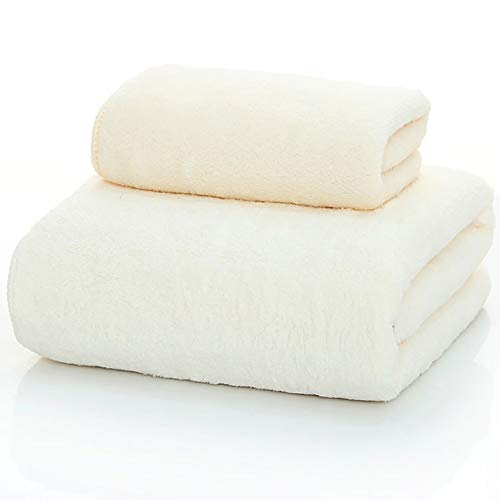 WJJS Calidad Microfibra Juego De Toallas,Toallas De Piscina Soft,De Secado Rápido, Uso Diario Blanco Crema 70x140cm