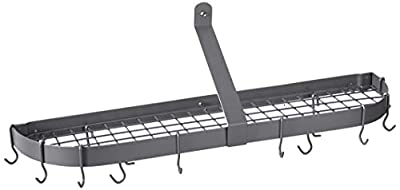 Gauge Wall-Mount Pot Rack with Grid & 12 Hooks from