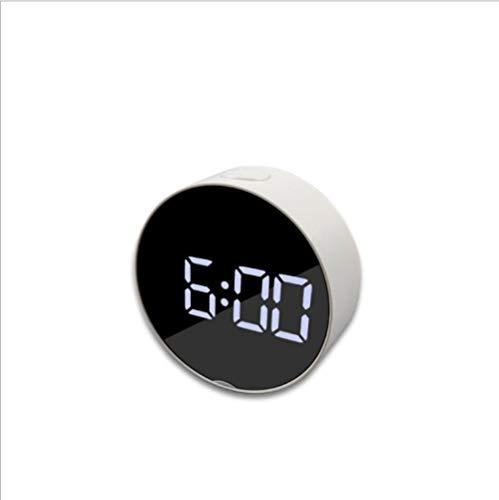 Despertador despertador espejo creativo multifunción LED maquillaje espejo enchufe doble uso espejo redondo USB