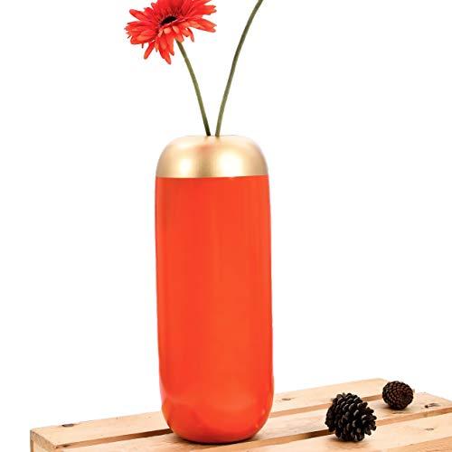 Leewadee Kleine Bodenvase für Dekozweige hohe Standvase Design Holzvase, 17x 41 cm, Mangoholz, orange