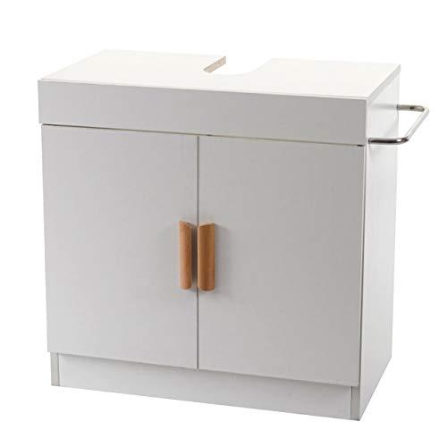 Mendler Waschbeckenunterschrank HWC-D55 Badschrank mit Staufach Badezimmer Unterschrank ~ weiß