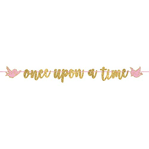 "amscan""Disney Princess"" Pink and Glitter Gold Ribbon Letter Party Banner, 12' x 8"", One Size (120502)"