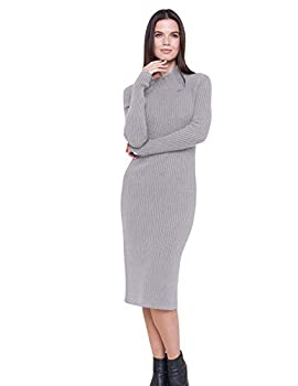 State Cashmere Women s Mock Neck Sweater Dress 100% Pure Cashmere Long Sleeve Sheath Pullover Style  Large Heather Grey