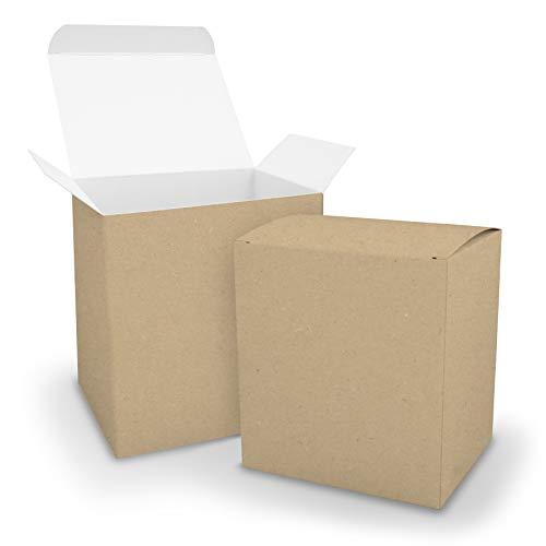 itenga - 25 scatole a cubo XL, in cartone, 11 x 9 x 12 cm, colore: esterno marrone, interno bianco, ideali per realizzare il Calendario dell'Avvento