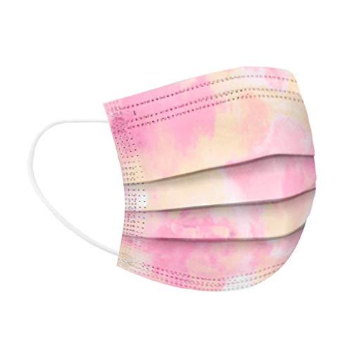 Mundschutz nur einmal verwendbar, atmungsaktiver Druck Mundbandana, Kinder & Kinder, Bandana Gesichts-Mundbandana Sommerschule Regenbogendruck (40 PC,pink2-40)