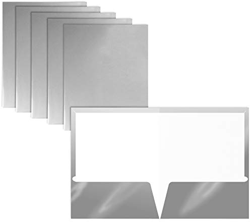 2 Pocket Glossy Laminated Metallic Silver Paper Folders, Letter Size, 25 Pack, Metallic Silver Paper Portfolios by Better Office Products, Box of 25 Metallic Silver Folders