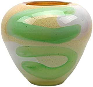 Murano Art Collection European Art Glass Capri Low Vase in Soft Yellow, Moss Green and Opal