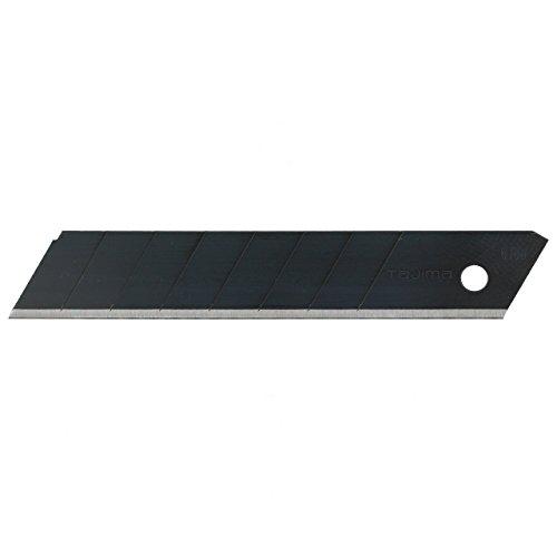 Tajima Ersatzklingen für Cutter (Breite 18 mm, 50 Stück in einer Box, Black Blade Klingen, für Pappe, Leder, Folie, Trockenbau geeignet, Ersatzmesser) LCB50RB50H
