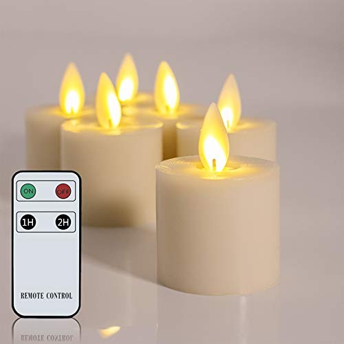 Moving Flame LED Tea Light Candles Flameless Votive Candles Battery Operated Candles with Remote Control for Wedding Parties Events