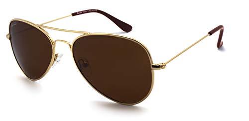 SunCristal Gafas de metal clásicas Cara pequeña Hombres Mujeres Adolescente UV400 Gafas de sol polarizadas(marco dorado + lente marrón té)